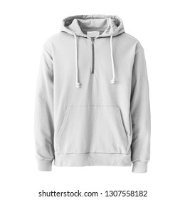 White Sweat Pullover Hoodie Isolated. Unisex Long Sleeves Apparel. Hooded Sweater Garment. Bunny Hug Kangaroo Sweatshirt Hood Drawstrings Pocket. Men's and Women's Clothing Zipper Hoodies Jumper