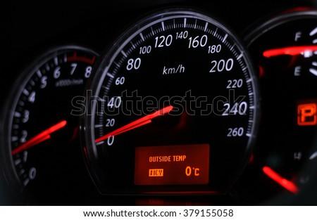 White Symbols Red Arrows Speedometer Black Stock Photo Edit Now