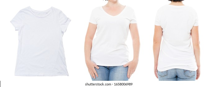 white t shirt close up, front back views girl woman t-shirt,white tshirt set isolated,mock up
