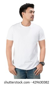 White t shirt on a young man template on white background,clipping path