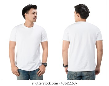 White t shirt on a young man template on white background.