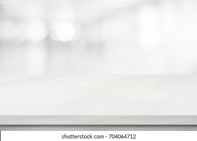 White table background, mockup, Empty white marble table top over blur perspective store background, Shelf, counter, desk for product and food display backdrop, banner