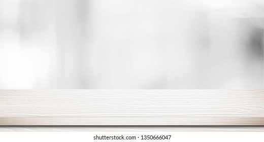 White table, desk and blur background, Empty wood counter, shelf surface over blur white bokeh light room background, Wood table top for retail shop, store product display banner, mock up, template