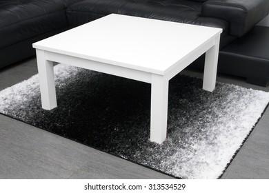 White table on modern design home interior rug