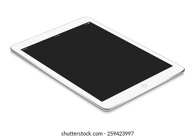 White tablet computer with blank screen mockup lies on the surface, isolated on white background. Whole image in focus, high quality.