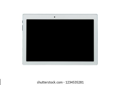 White tablet computer isolated on a white background. Topview.