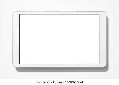 White tablet computer on white background with shadow. Blank screen. Top view.