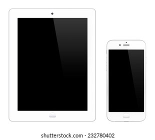 White tablet computer and smartphone isolated on white background