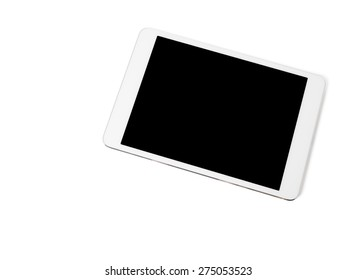 White tablet pc, closeup, isolated