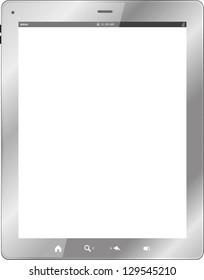 white tablet pc on white background, raster