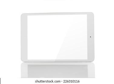 white tablet pc on white background