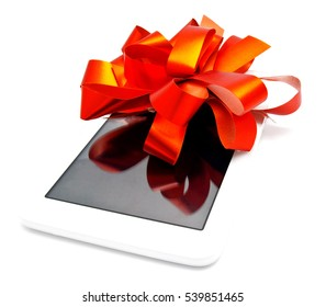 White Tablet with Red Ribbon and Bow isolated on white