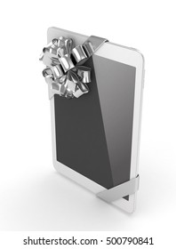 White tablet with silver bow. 3D rendering.