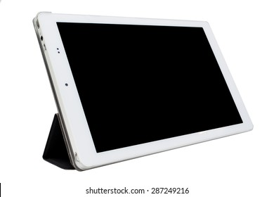 The white tablet in standing tablet case