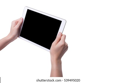White tablet in woman's hands isolated on white in horizontal mode