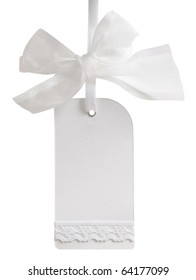 white tag with beautiful transparent bow