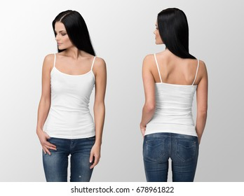 White tank top on a young woman in jeans isolated, front and back, mockup.