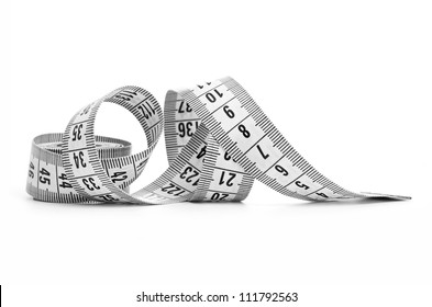 white tape measuring isolated on a white background