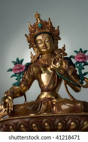 White Tara - one of the main bodhisattvas of the Buddhism, a symbol of exclusive purity and unusual wisdom. She holds a lotus flower in the left hand. The figurine made of bronze.