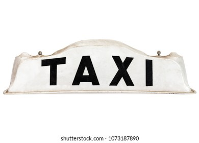 White taxi roof sign isolated on a white background