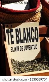 White tea elixir of youth (té blanco elixir de juventud), sale at an outdoor market, Spain