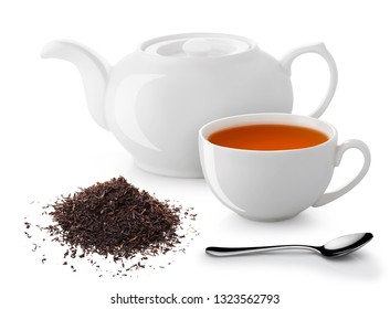 white teapot cup with highlights isolated on white background spoon