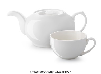 white teapot cup with highlights isolated on white background