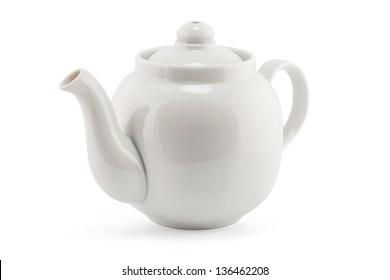 white teapot isolated