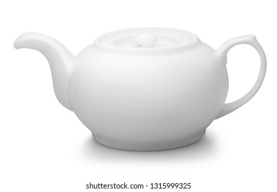 white teapot isolated on white background one