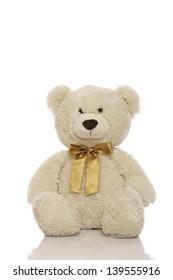 White teddy bear isolated on white background