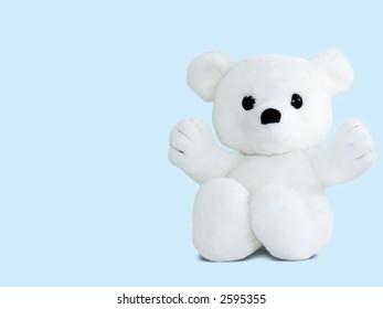 A white teddy bear, isolated on blue
