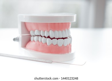 White teeth and dental instruments on table