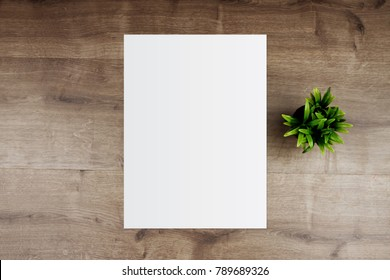 White template paper and space for text on wooden background