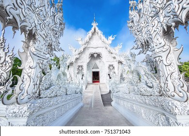 The White Temple, also known as Wat Rong Khun, in Chiang Rai, Thailand.