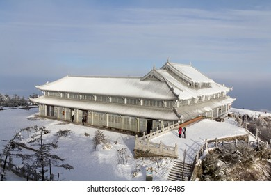 A white temple on the peak