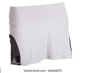 White Tennis Skirt Isolated on White Background.