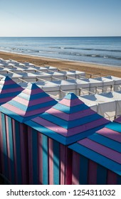 White tents and blue pink cabins at Les Sables beach (Les Sables d'Olonne, France)