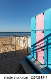 White tents and blue pink lockers at Les Sables beach (Les Sables d'Olonne, France)