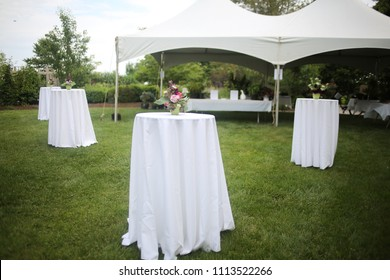 White Tents and High top Tables for an Outdoor Garden Event with Pink and Purple Centerpieces