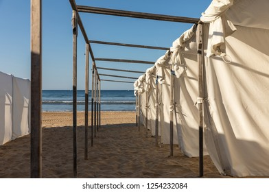 White tents on the beach of Les Sables (Les Sables d'Olonne, France)
