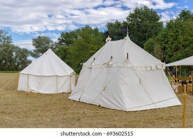 White tents on a medieval festival. Knights' Camp.