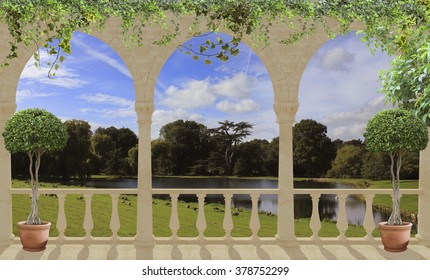 white terrace with arches overlooking the lake and Park