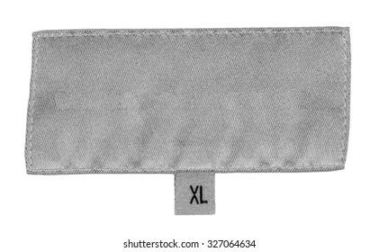 white textile label isolated on white background