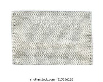 white textile tag  isolated on white  background