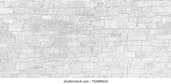 White texture of ancient limestone wall. Grayscale limestone wall background.