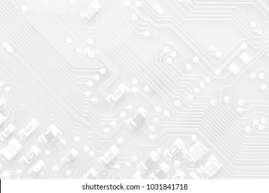 White texture background of printed circuit board. Computer technology background. Information tech. Space for text. Gray scale pcb background.