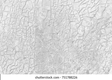 White texture of cracks on acrylic paint on metal surface