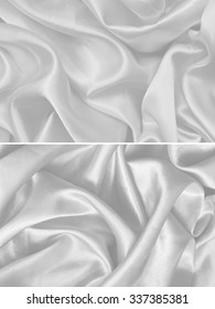 white Texture satin. silk background. shiny wavy pattern canvas. color fabric, cloth
