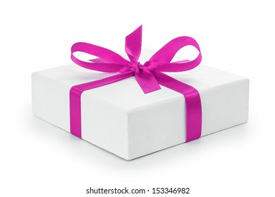 white textured gift box with purple ribbon bow, isolated on white