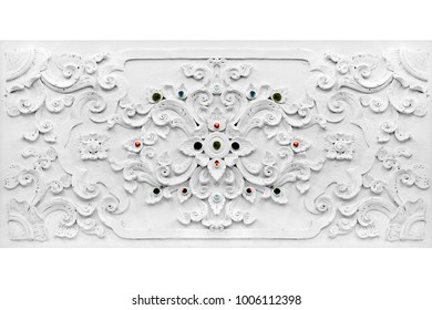 White thai art stucco flower for decoration wall,Thai temple